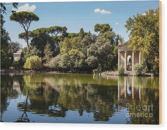 Temple Of Aesculapius And Lake In The Villa Borghese Gardens In  Wood Print