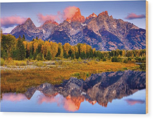 Tetons Reflection Wood Print