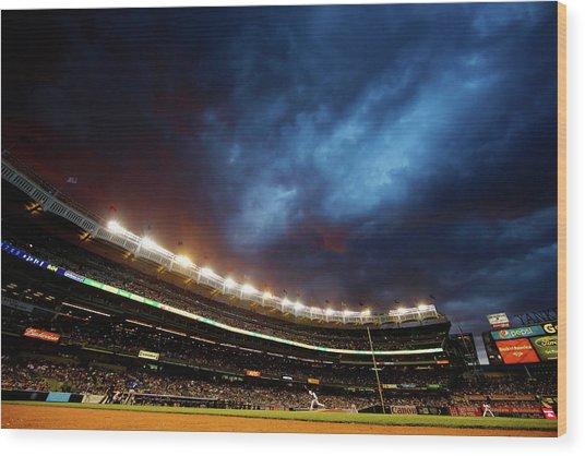 Texas Rangers V New York Yankees Wood Print by Al Bello