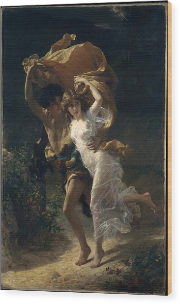 Wood Print featuring the painting The Storm by Pierre Auguste Cot