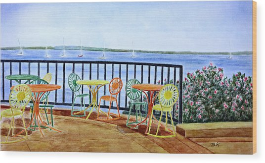 The Terrace View Wood Print