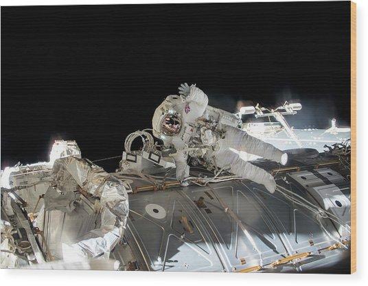 Tim Peake's Spacewalk Wood Print