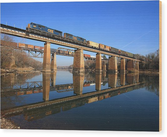 2 Trains 2 Trestles Cayce South Carolina Wood Print