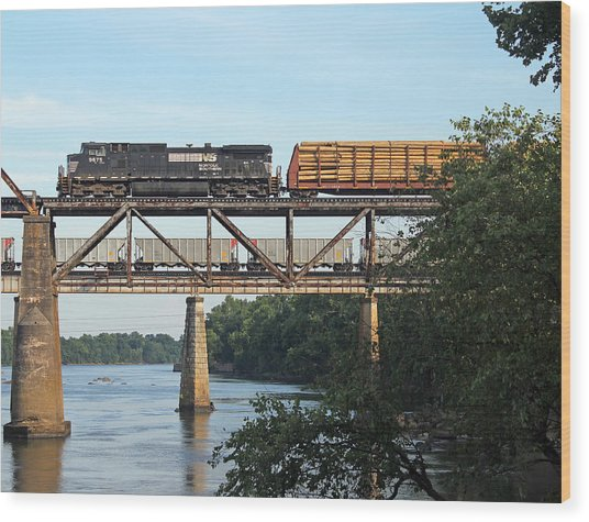 2 Trains Moving Over The Congaree Wood Print