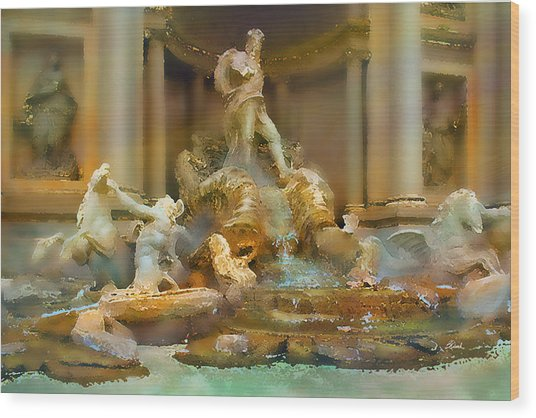Trevi Fountain Wood Print by Bill Quick