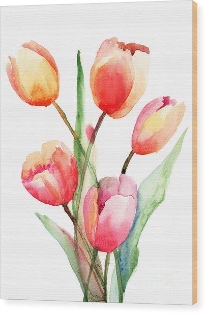 Tulips Flowers Wood Print