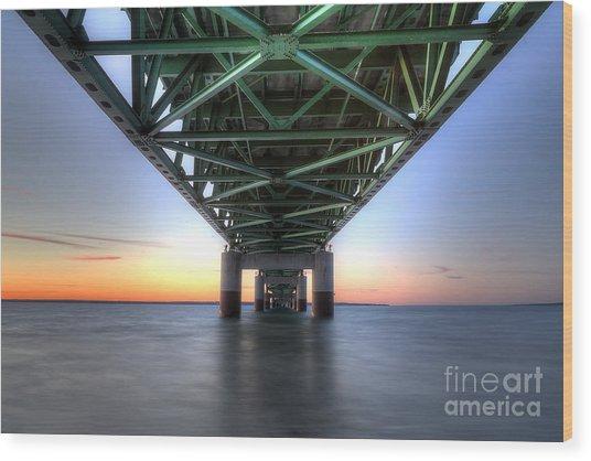 Under The Mackinac Bridge Wood Print