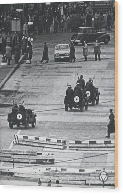 Volkspolice Tried To Hinder The American Traffic In Berlin Wood Print by Retro Images Archive