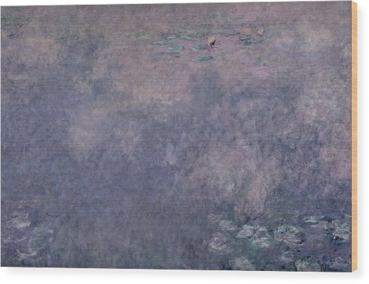 Waterlilies Two Weeping Willows Wood Print