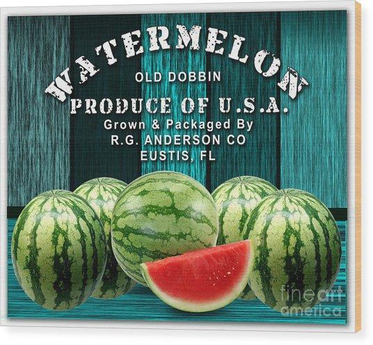 Watermelon Farm Wood Print