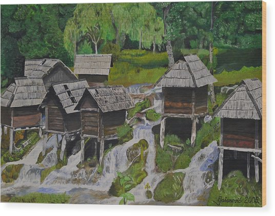 Watermill On Pliva Wood Print by Ferid Jasarevic