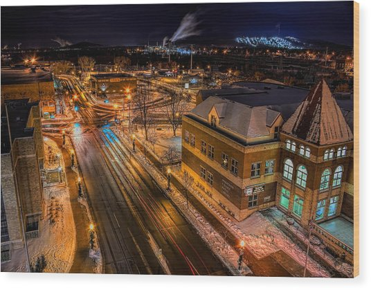 Wausau After Dark Wood Print