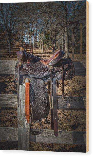 Western Saddle Wood Print