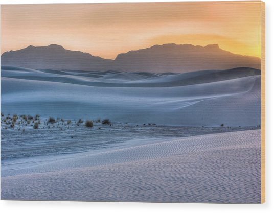 White Sands Sunset Wood Print