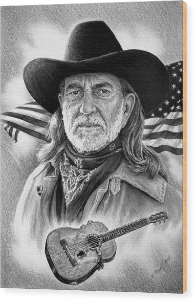 Willie Nelson American Legend Wood Print