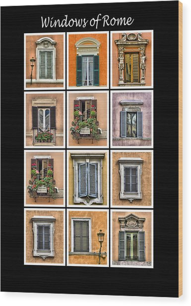 Windows Of Rome Wood Print