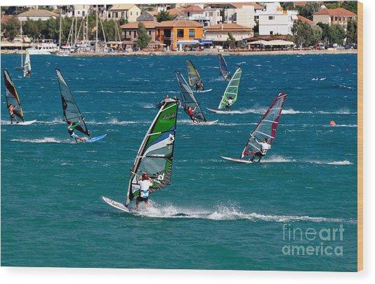 Windsurfing In Vasiliki Bay Wood Print