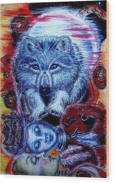 Wolf Dream Wood Print by Elizabeth Clausen