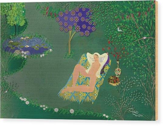 Woman In Garden With Pond Wood Print