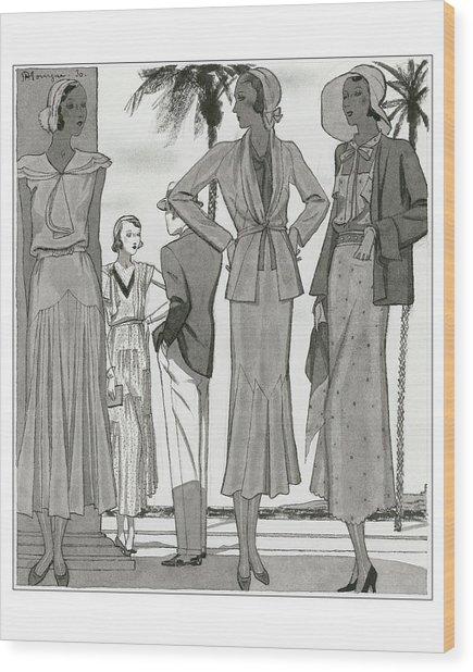 Women Wearing Designer Dresses Wood Print by Pierre Mourgue