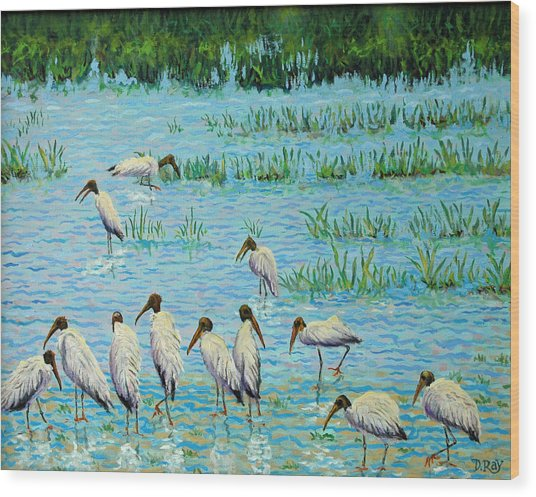 Wood Stork Discussion Group Wood Print
