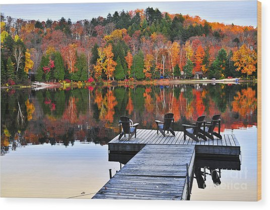 Wooden Dock On Autumn Lake Wood Print