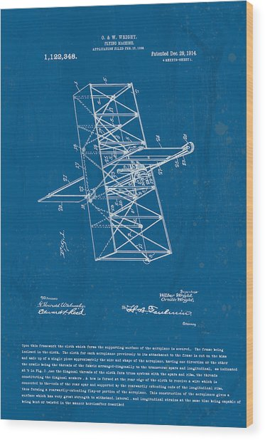 Wright Brothers Flying Machine Patent Wood Print