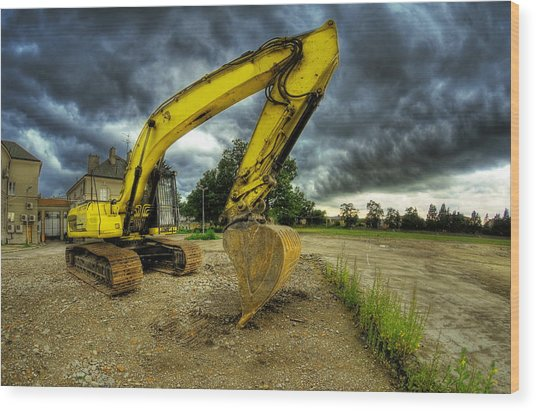 Yellow Excavator Wood Print