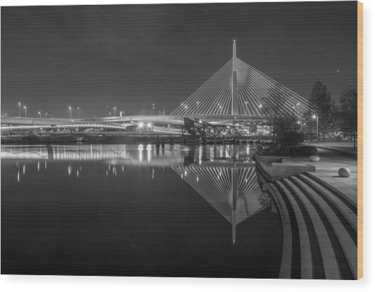 Zakim In Black And White Wood Print