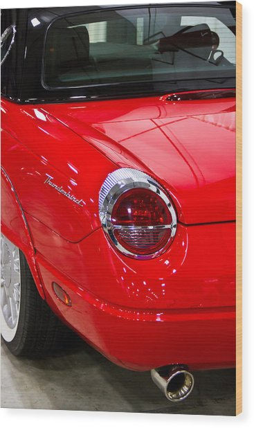 2002 Red Ford Thunderbird-rear Left Wood Print