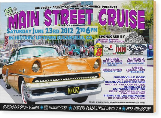 2012 Main Street Cruise Poster Wood Print