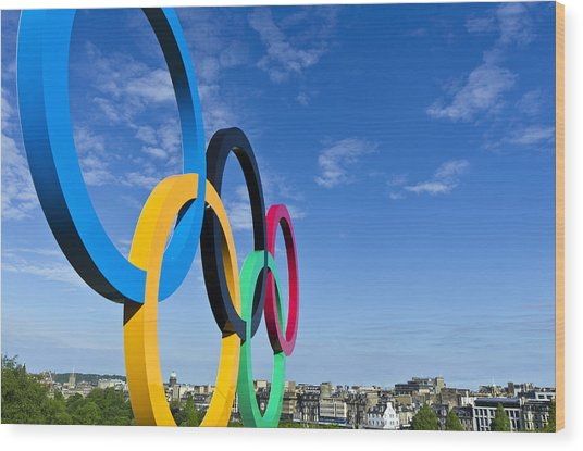 2012 Olympic Rings Over Edinburgh Wood Print