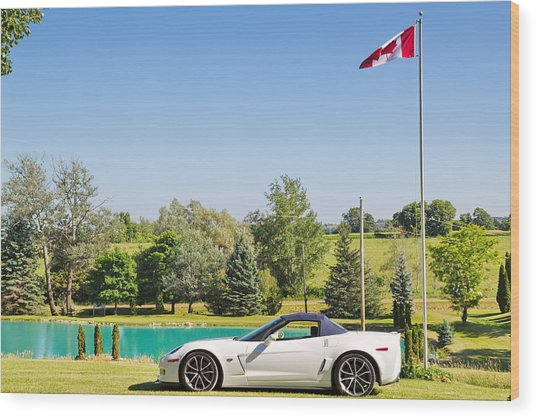 2013 Corvette 427 Sixtieth Anniversary Special By Canadian Flag Wood Print