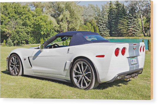 2013 Corvette 427 Sixtieth Anniversary Special Striped Roof Up Wood Print