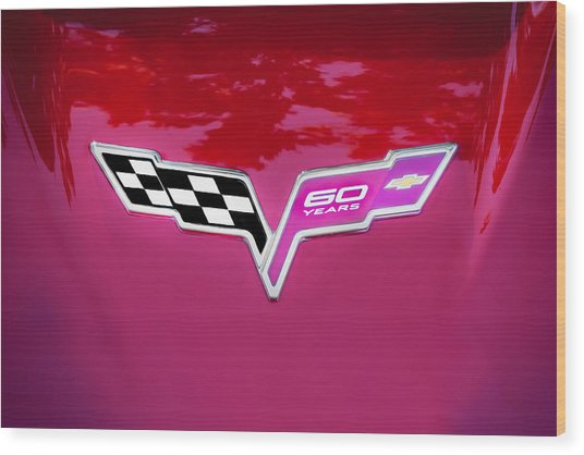 2013 Corvette 60th Anniversary Hood Logo Painted Wood Print