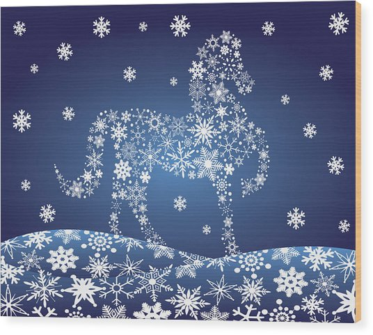 2014 Chinese Horse With Snowflakes Night Winter Scene Wood Print