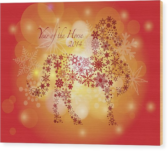 2014 Happy New Year Of The Horse With Snowflakes Pattern Wood Print
