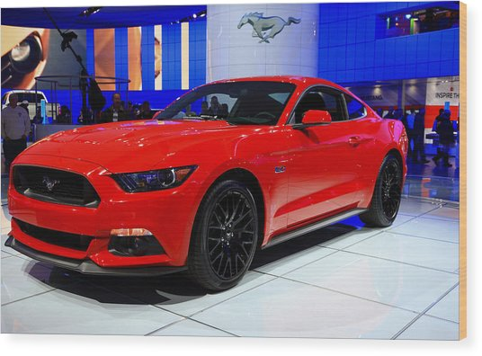 2015 Mustang In Red Wood Print