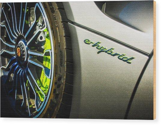 Wood Print featuring the photograph 2015 Porsche 918 Spyder E-hybrid Wheel Emblem -0238c by Jill Reger