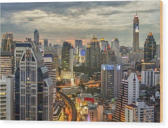 Bangkok City Night View Wood Print