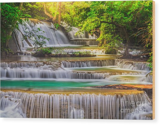 Erawan Waterfall Wood Print