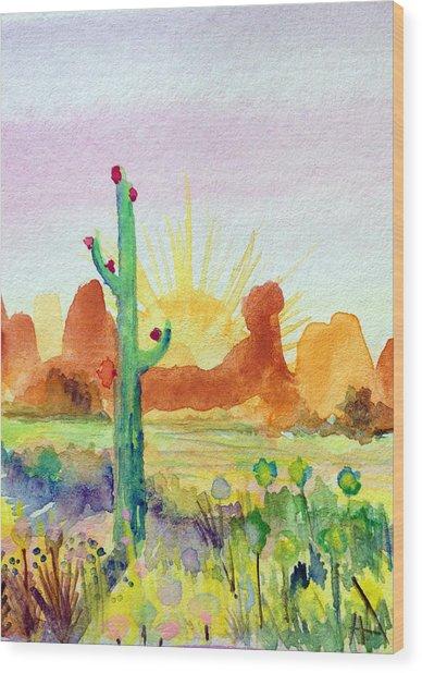 Southwestern Landscape Wood Print by Patricia Lazaro