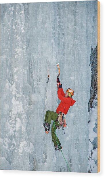 Ice Climbing Wood Print by Elijah Weber
