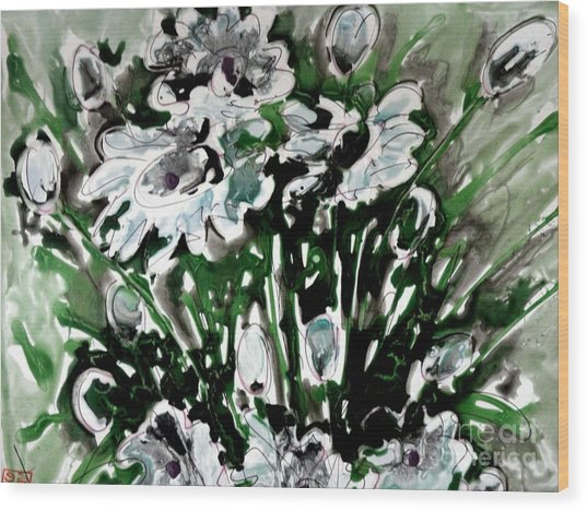 Zenmoksha Flowers Wood Print by Baljit Chadha