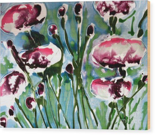 Zenmoksha Flowers Wood Print by Baljit Chadha
