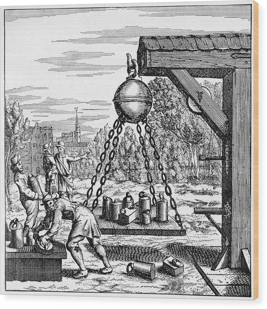 17th Century Vacuum Experiment Wood Print by Cci Archives