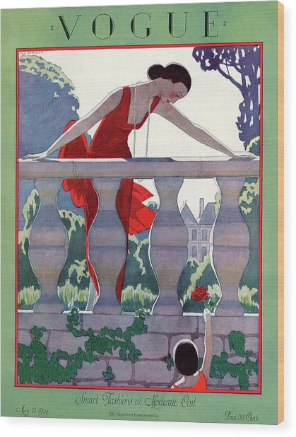 A Vintage Vogue Magazine Cover Of A Woman Wood Print by Andre E  Marty