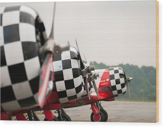 Wood Print featuring the photograph Airplanes At The Airshow by Alex Grichenko