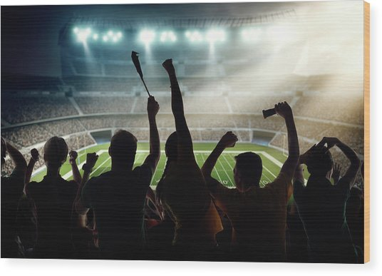 American Football Fans At Stadium Wood Print by Dmytro Aksonov