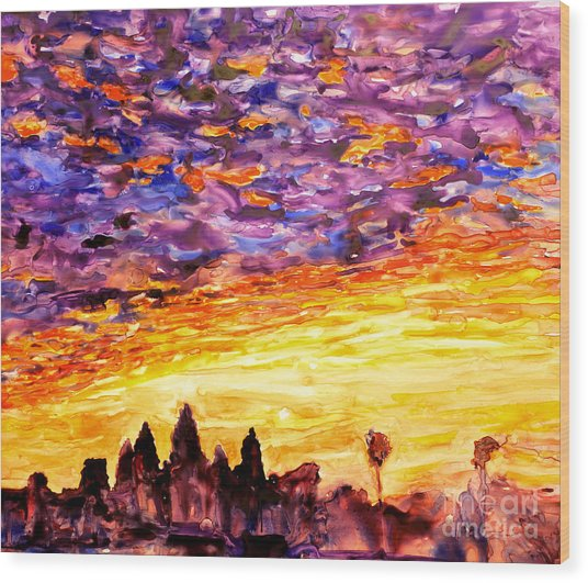 Angkor Sunrise Wood Print